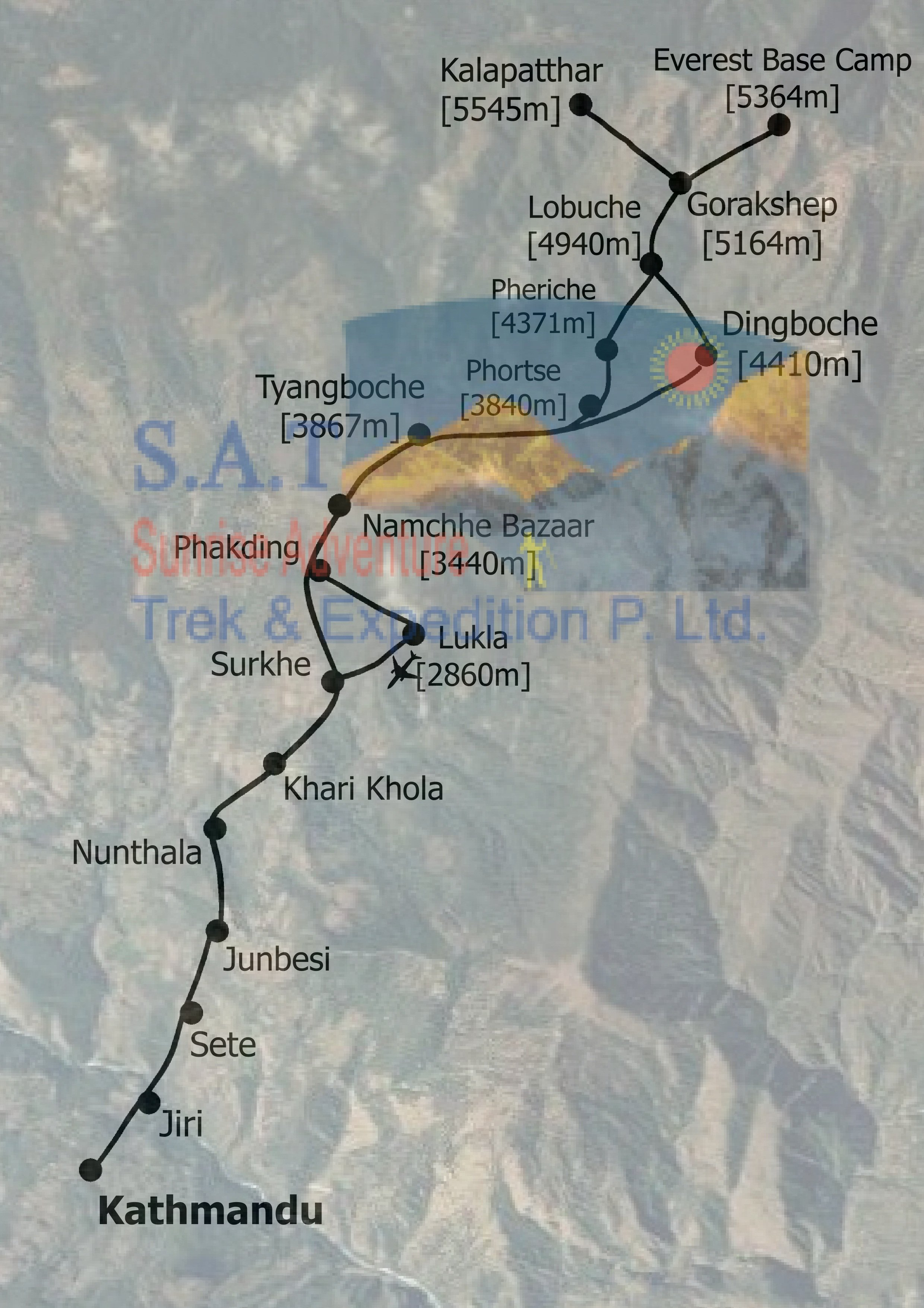 Jiri To Everest Base Camp Labled Hill on Where Is Kathmandu Nepal Located On The Map